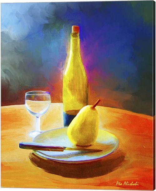 Metaverse Wine And Pear By Ata Alishahi Canvas Art