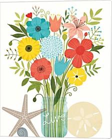 Seaside Bouquet I Mason Jar By Michael Mullan Canvas Art