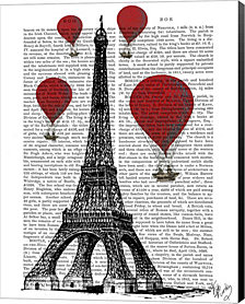 Eiffel Tower and Red Hot Air Balloons by Fab Funky Canvas Art