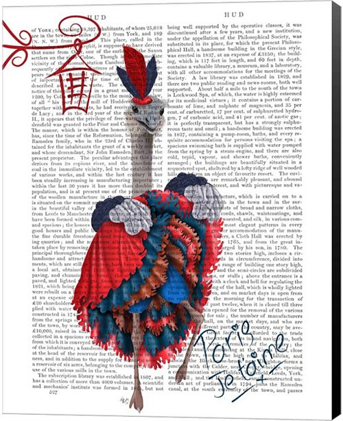 Metaverse Ostrich, Can Can In Red And Blue By Fab Funky Canvas Art