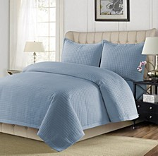 Como Microfiber Solid Oversized Queen Quilt Set