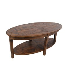 "Alaterre Furniture Revive - Reclaimed 48"" Oval Coffee Table, Natural"