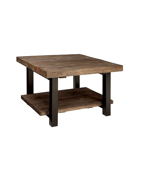 """Alaterre Furniture Pomona 27"""" Metal and Reclaimed Wood Square Coffee Table"""