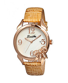 Bertha Quartz Bow Collection Rose Gold And Cream Leather Watch 38Mm