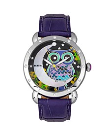 Quartz Ashley Collection Silver And Purple Leather Watch 38Mm
