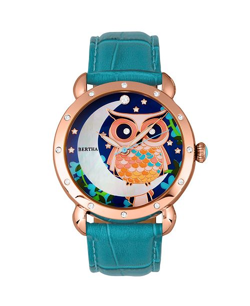 Bertha Quartz Ashley Collection Rose Gold And Turquoise Leather Watch 38Mm