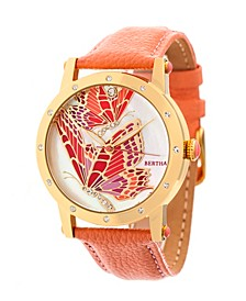 Quartz Isabella Collection Gold And Coral Leather Watch 38Mm