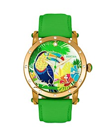 Bertha Quartz Gisele Collection Gold And Green Leather Watch 38Mm