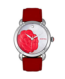 Bertha Quartz Daphne Collection Silver And Red Leather Watch 38Mm