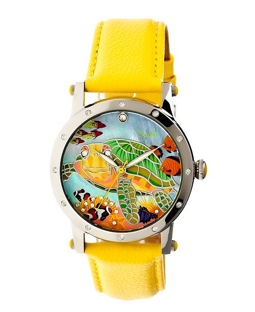 Bertha Quartz Chelsea Collection Silver And Yellow Leather Watch 38Mm