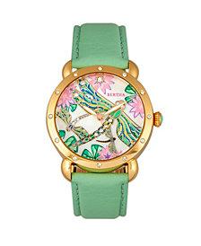 Bertha Quartz Jennifer Collection Gold And Mint Leather Watch 38Mm