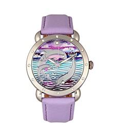 Quartz Estella Collection Silver And Lavender Leather Watch 38Mm