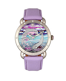 Bertha Quartz Estella Collection Silver And Lavender Leather Watch 38Mm