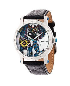 Bertha Quartz Betsy Collection Silver And Black Leather Watch 38Mm