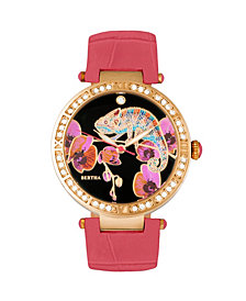 Bertha Quartz Camilla Collection Coral Leather Watch 38Mm