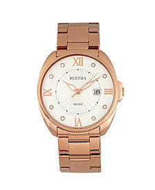Bertha Quartz Amelia Collection Rose Gold Stainless Steel Watch 38Mm