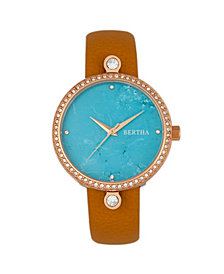Bertha Quartz Frances Collection Rose Gold And Cerulean Leather Watch 37Mm
