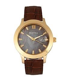 Quartz Eden Collection Dark Brown And Gold Leather Watch 38Mm