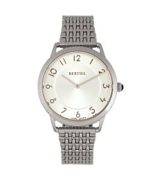 Bertha Quartz Abby Collection Silver Stainless Steel Watch 33Mm