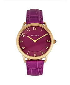 Quartz Abby Collection Gold And Fuchsia Leather Watch 33Mm