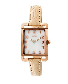 Quartz Marisol Collection Cream Leather Watch 21Mm