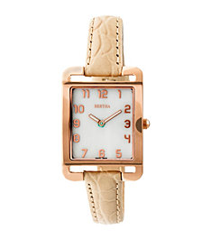 Bertha Quartz Marisol Collection Cream Leather Watch 21Mm