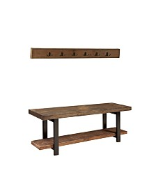 "Pomona 48"" Metal and Reclaimed Wood Wall Coat Hook with Bench"