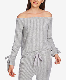 1.STATE Cozy Off-The-Shoulder Tie-Sleeve Top