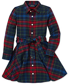 Polo Ralph Lauren Toddler Girls Plaid Cotton Shirtdress