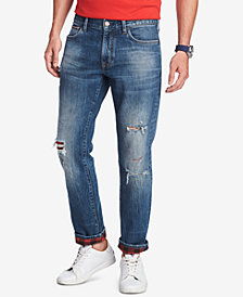 Tommy Hilfiger Denim Men's Straight-Fit Brad Plaid Jeans, Created for Macy's