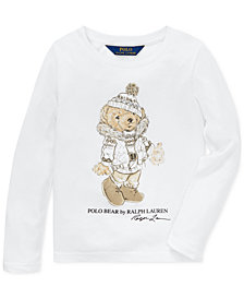 Polo Ralph Lauren Little Girls Holiday Bear Long-Sleeve Cotton T-Shirt