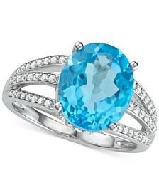 Blue Topaz (5-1/8 ct. t.w.) & Diamond (1/3 ct .t.w.) Ring in 14k White Gold