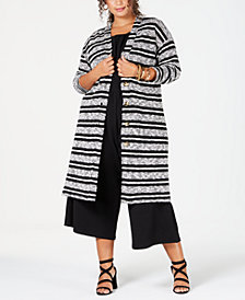 Eyeshadow Trendy Plus Size Striped Completer Cardigan