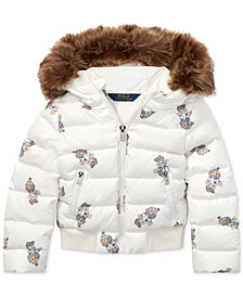Polo Ralph Lauren Toddler Girls Polo Bear Down Jacket