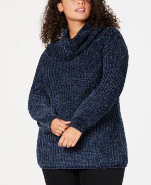 Image of 525 America Plus Size Chenille Cowl-Neck Sweater, Created for Macy's