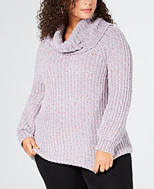 525 America Plus Size Chenille Cowl-Neck Sweater, Created for Macy's