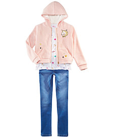 Epic Threads Big Girls Fur-Lined Hoodie, T-Shirt & Jeans, Created for Macy's