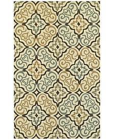 """Tommy Bahama Home  Atrium Indoor/Outdoor 51106 Ivory/Brown 3'6"""" x 5'6"""" Area Rug"""