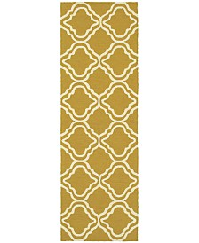 "CLOSEOUT! Tommy Bahama Home   Atrium Indoor/Outdoor 51112 Gold/Ivory 2'6"" x 8' Runner Area Rug"