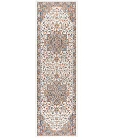 "KM Home Harper HA3302 Ivory 2'3"" x 7'3"" Runner Area Rug"