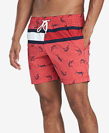"Tommy Hilfiger Men's Swordfish Printed 6.5"" Swim Trunks, Created for Macy's"