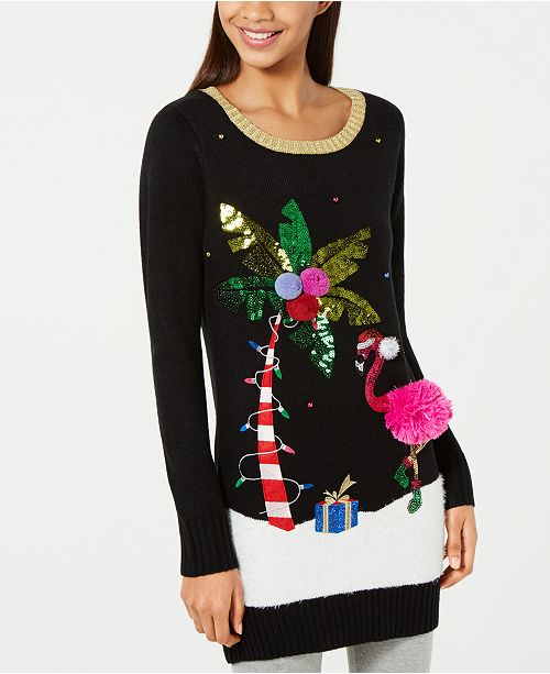 Macys Christmas Sweaters.Hooked Up By Iot Juniors Embellished Flamingo Tunic