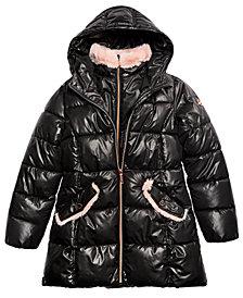 MICHAEL Michael Kors Big Girls Hooded Stadium Puffer Jacket with Faux-Fur Trim