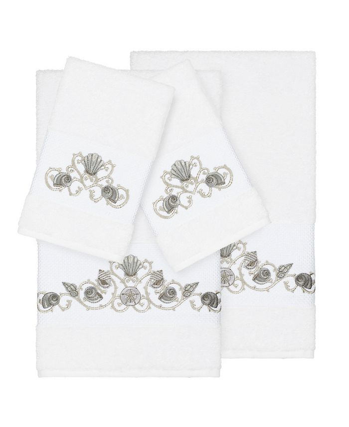 Linum Home - Bella 4-Pc. Embroidered Turkish Cotton Bath and Hand Towel Set
