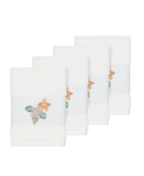 Linum Home Caroline 4-Pc. Embroidered Turkish Cotton Washcloth Set
