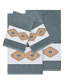 Gianna 4-Pc. Embroidered Turkish Cotton Bath and Hand Towel Set
