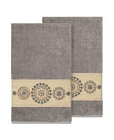 Linum Home Isabelle 2-Pc. Embroidered Turkish Cotton Bath Towel Set