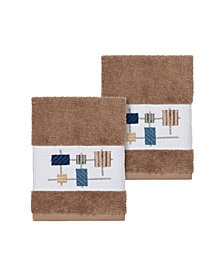 Linum Home Khloe 2-Pc. Embroidered Turkish Cotton Washcloth Set