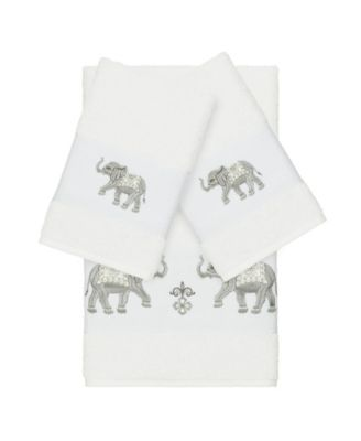 Quinn 3-Pc. Embroidered Turkish Cotton Bath and Hand Towel Set