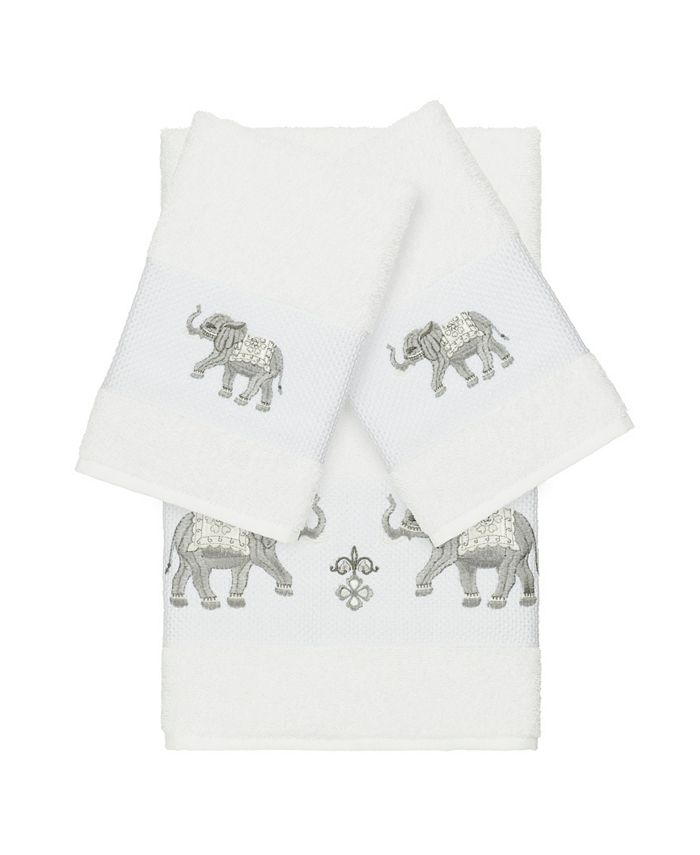 Linum Home - Quinn 3-Pc. Embroidered Turkish Cotton Bath and Hand Towel Set